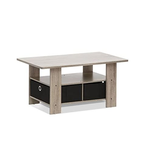 Furinno 11158GYW/BK Coffee Table with Bin Drawer, French
