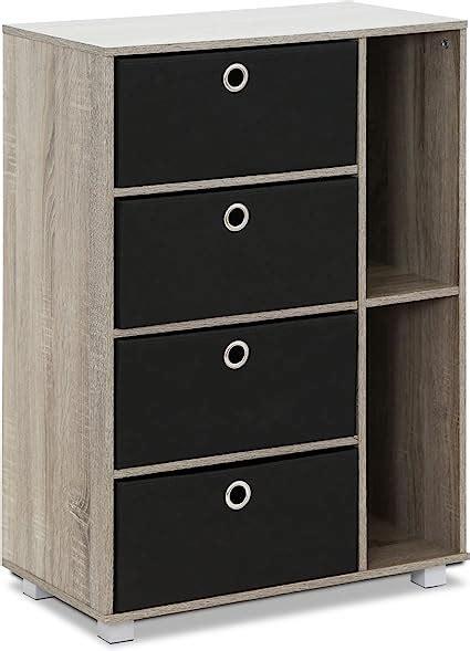 Furinno 11159GYW/BK Multipurpose Storage Cabinet, French Oak Grey/