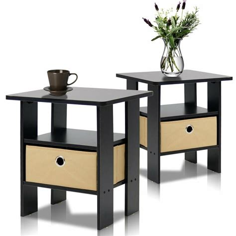 Furinno 2-11157EX End Table Bedroom Night Stand, Petite,