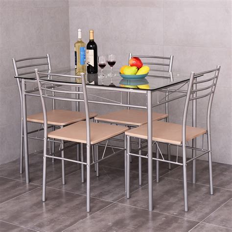 Giantex 5 Piece Kitchen Dining Table Set with Glass Table