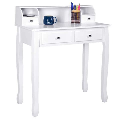 Giantex Writing Desk with 4 Drawers 2-Tier Mission Home Office