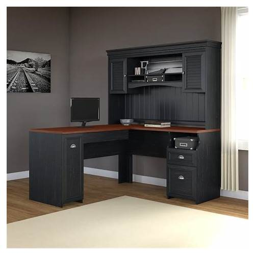 Home Office L-shaped Desk with Hutch office design & decor ideas gallery