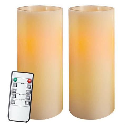 "Homemory 9"" Amber Yellow Light Flameless Candles Battery Operated LED"