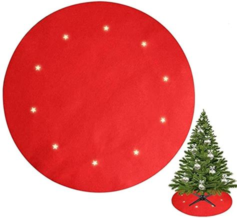Juegoal Reversible Christmas Tree Stand Mat with 10 LED Star