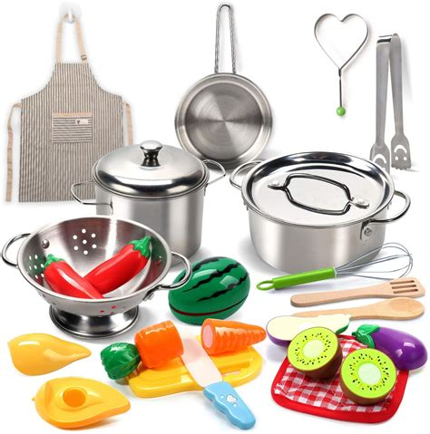 Kitchen Pretend Play Accessories Toys with Stainless Steel Cookware