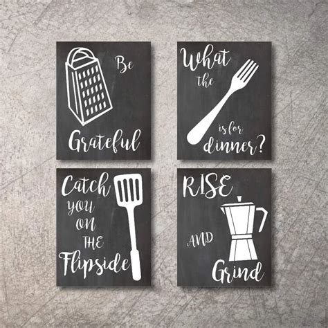Kitchen Wall Decor Art Prints 4 UNFRAMED Rustic Wall Signs