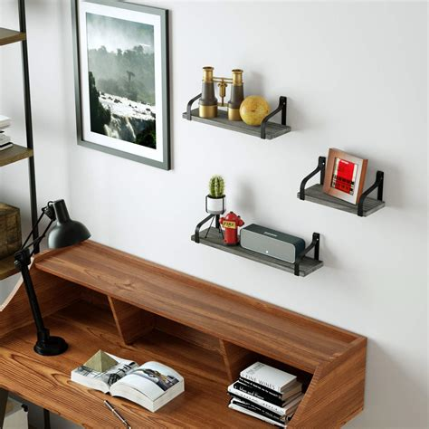 Love-KANKEI Rustic Floating Shelves Wall Mounted Industrial Wall Shelves