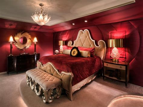 Master Bedroom with Red bedroom design & decor ideas gallery