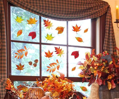 Moon Boat 120PCS Fall Leaves Window Clings - Thanksgiving