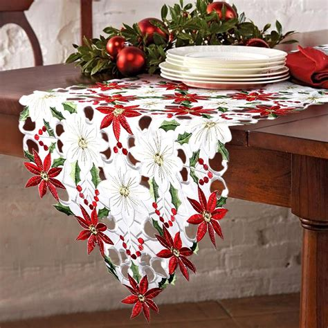 OurWarm Christmas Embroidered Table Runners Poinsettia Holly Leaf Table