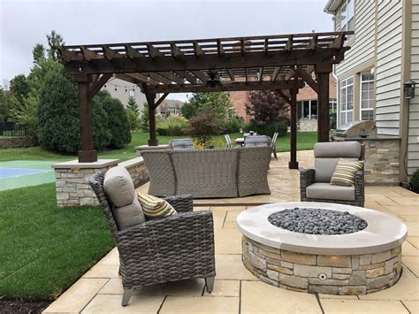Paver Patio with Pergola and Fireplace