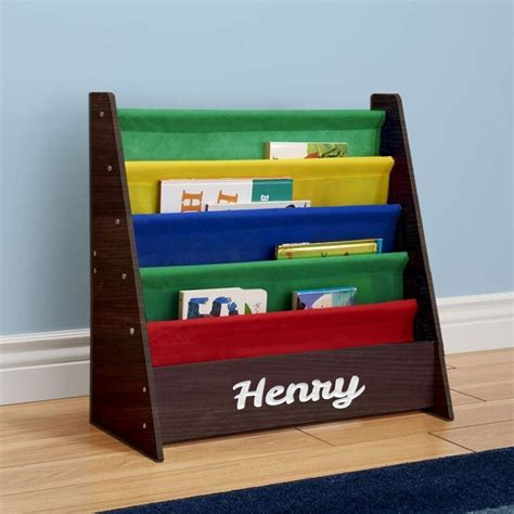 Personalized Dibsies Kids Bookshelf (Espresso with Primary Fabric)