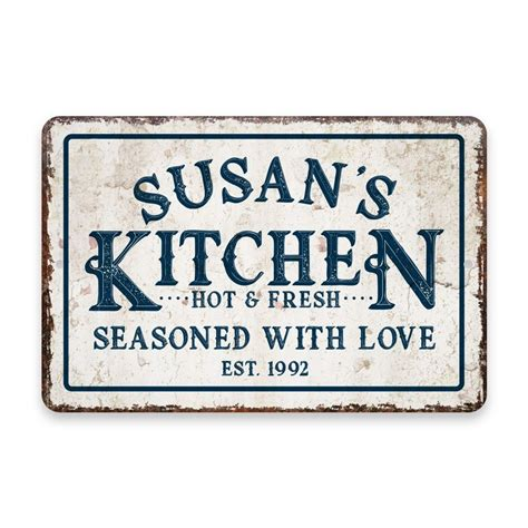 Personalized Vintage Distressed Look Kitchen Seasoned with Love Metal