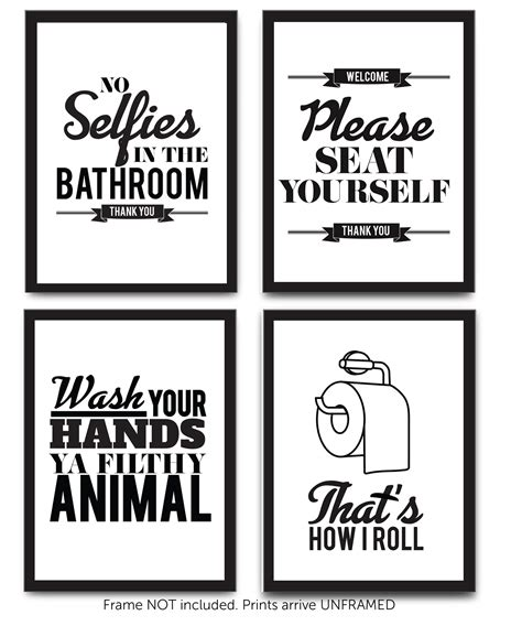 Set of 4 Funny Bathroom Quotes & Rules (UNFRAMED) Best Modern