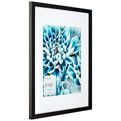 Snap 11x14 Black Wall Picture Frame with Single White
