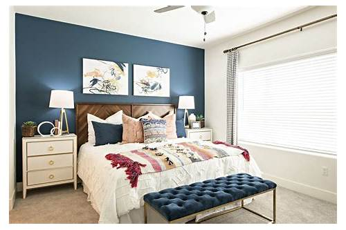 Traditional Bedroom with Navy Accent Wall bedroom design & decor ideas gallery