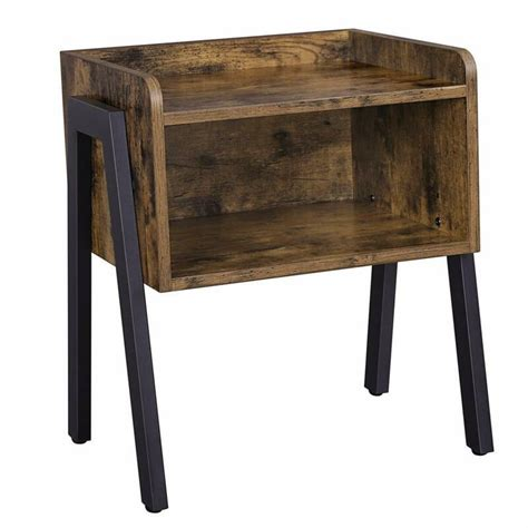 VASAGLE Industrial Nightstand, Stackable End Table, Cabinet for Storage,