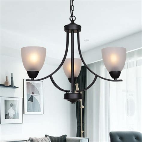 VINLUZ 3 Light Shaded Contemporary Chandeliers with Alabaster Glass Black