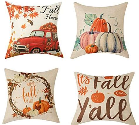 WLNUI Set of 4 Pillow Covers,Fall Cotton Linen Throw