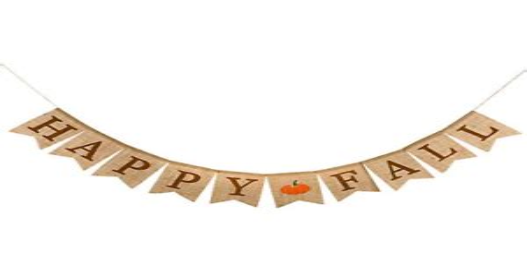 Whaline Happy Fall Pumpkin Burlap Banner Harvest Home Decor
