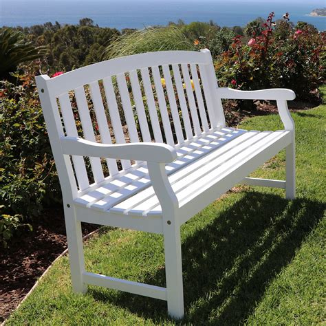 White Wooden Garden Bench