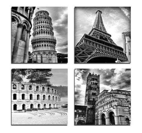 Wieco Art Architectures Modern 4 Panels Giclee Canvas Prints Europe