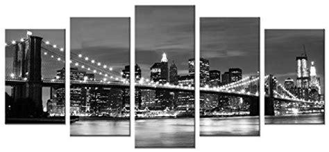 Wieco Art Brooklyn Bridge Night View 5 Panels Modern Landscape