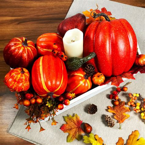 Winlyn Package of 6 Assorted Size Harvest Artificial Pumpkins for