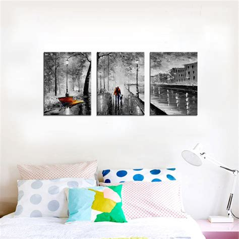 YPY 3 Panel Palette Knife Oil Paintings Abstract Modern City