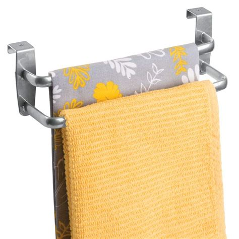 mDesign Modern Kitchen Over Cabinet Strong Steel Double Towel